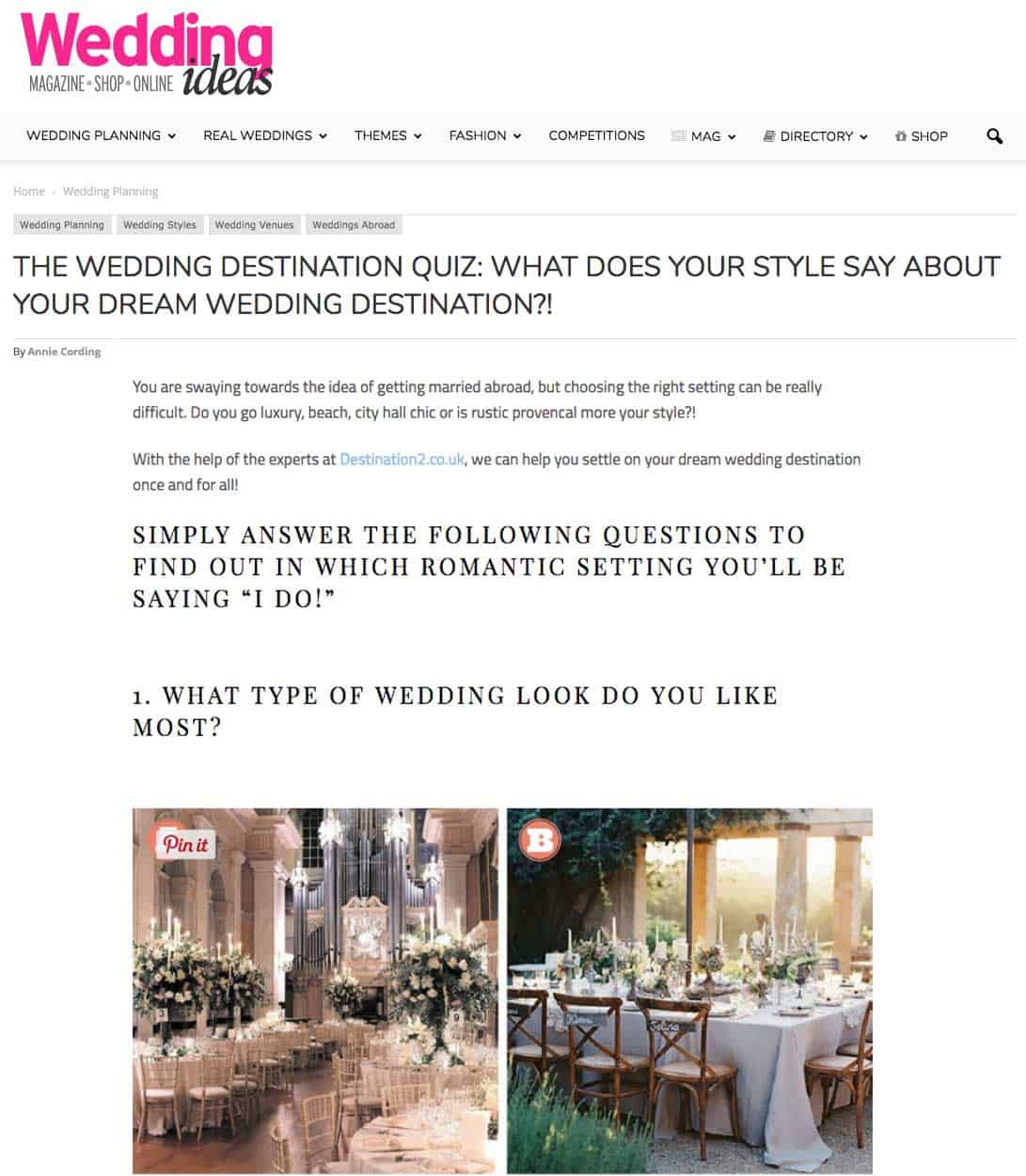The Wedding Destination Quiz: What Does Your Style Say About Your Dream Wedding Destination?!