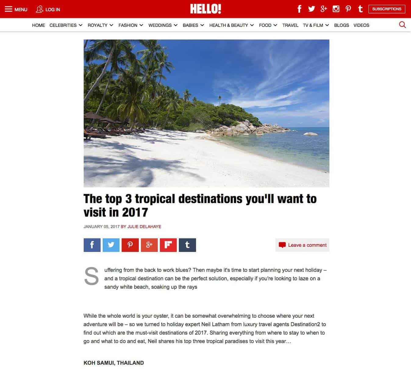 The top 3 tropical destinations you'll want to visit in 2017