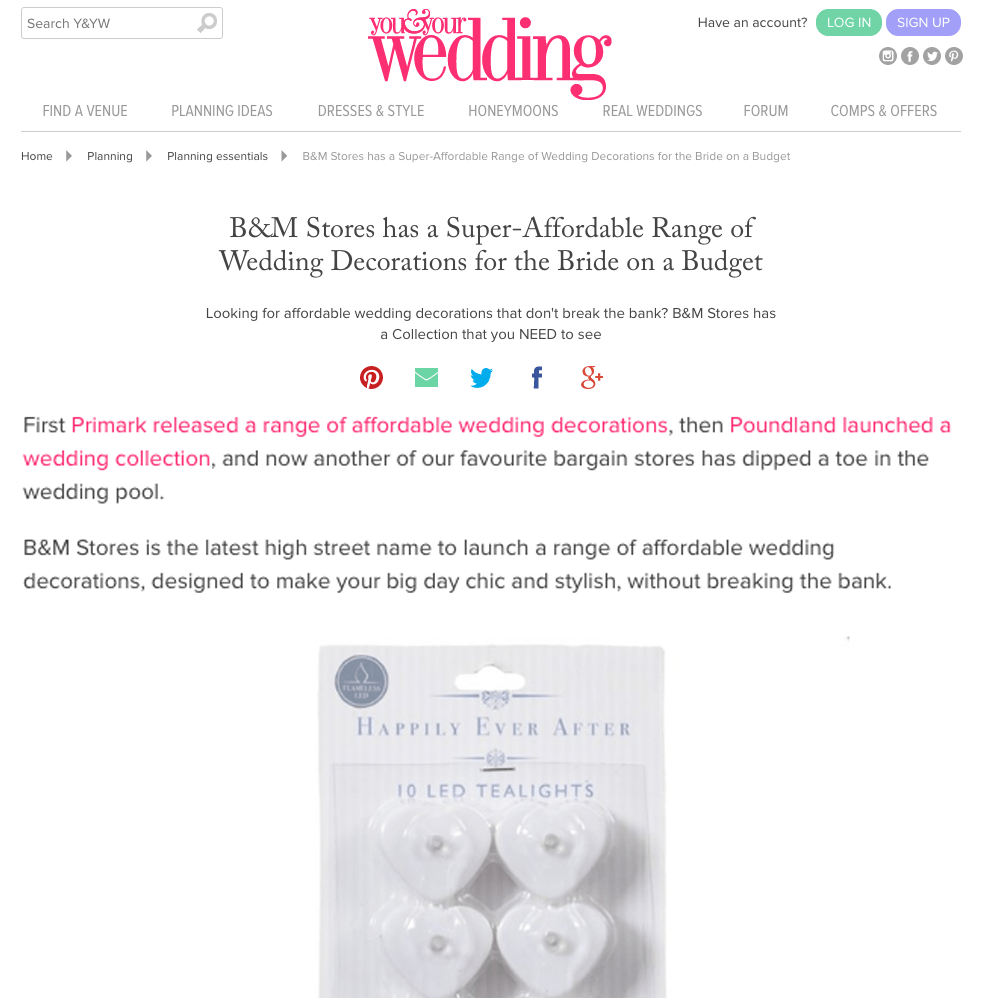 B&M Stores has a Super-Affordable Range of Wedding Decorations