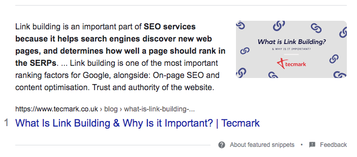 Featured snippets - rich snippets