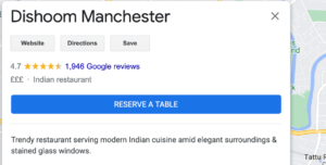Dishoom Manchester booking button on Google my business