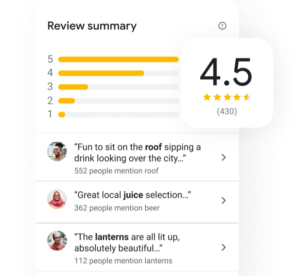 Review summary and example on Google my business