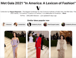 Met gala 2021 In America a lexicon of fashion example of Pinterest SEO and social media SEO