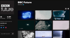 BBC future on Giphy and how they optimise their social media SEO by creating a detailed channel page