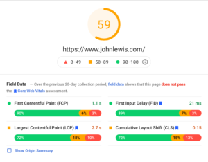 Example Of Google PageSpeed Insights Service Results Using John Lewis