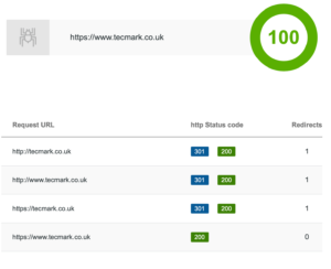 An Example Of Tecmarks Performance On SerpWorks 301 Redirect Checker Results