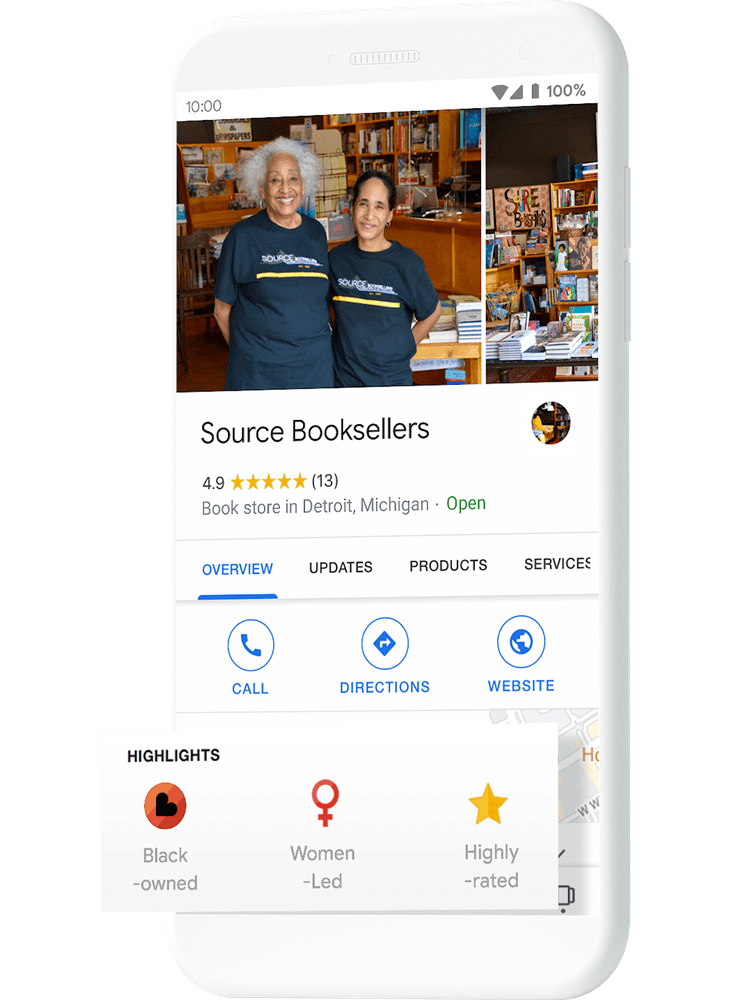 Black-owned business attributes on Google my Business